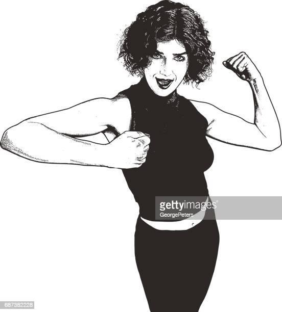 ilustraciones, imágenes clip art, dibujos animados e iconos de stock de mujer sentirse fuerte y seguro, flexionando los músculos - fuerza