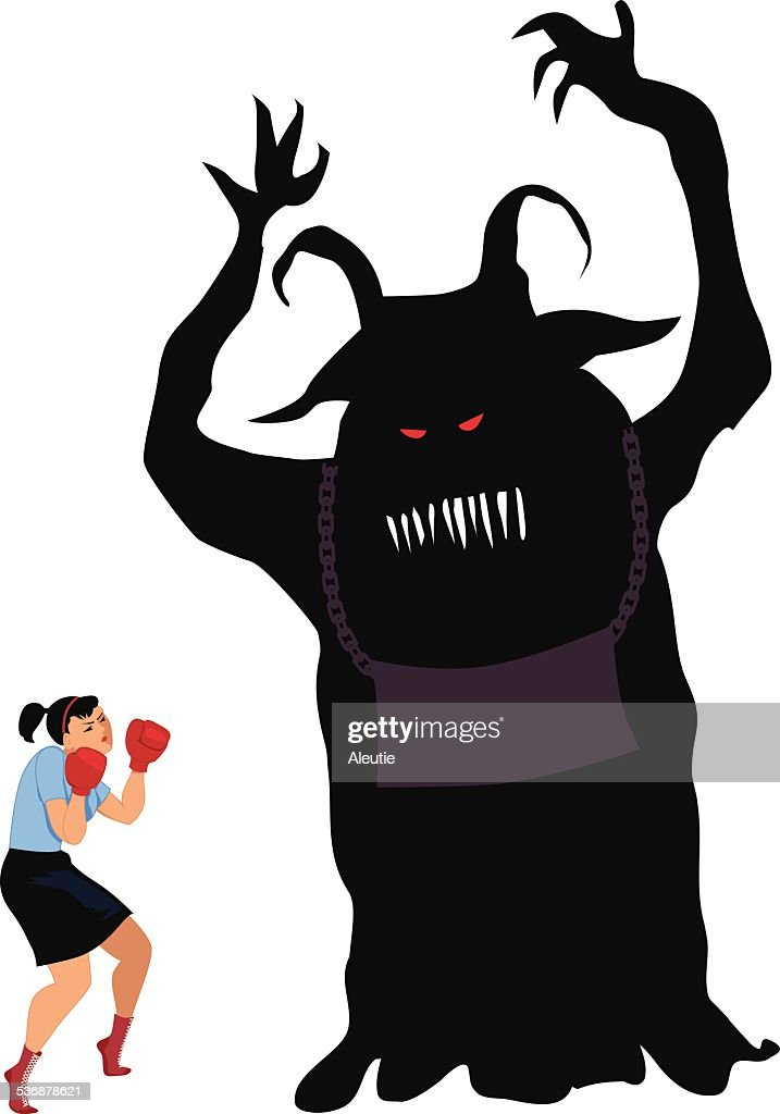 Woman fighting a monster