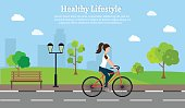 Woman fitness bike set vector illustration lifestyle cityscape background