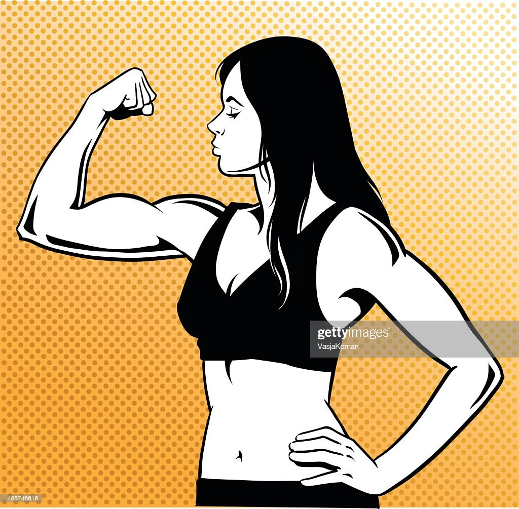 Woman Flexing her Muscles - Black and White