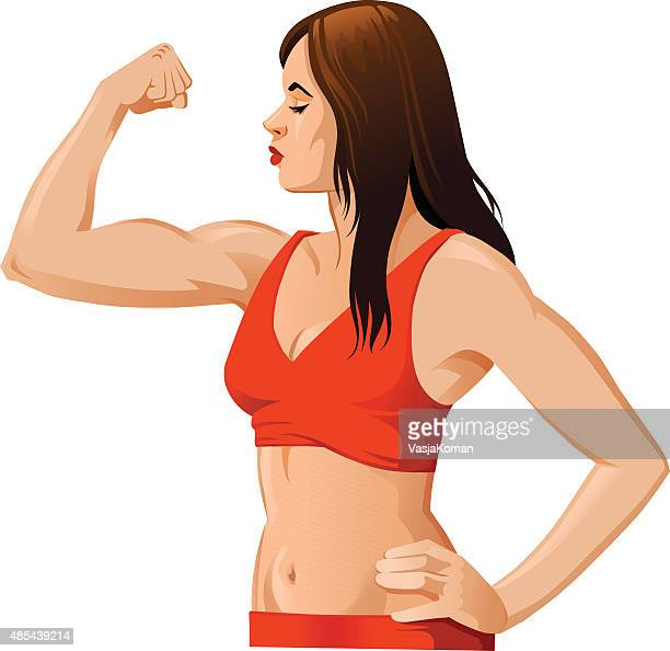 woman flexing muscles - bicep stock illustrations, clip art, cartoons, & icons