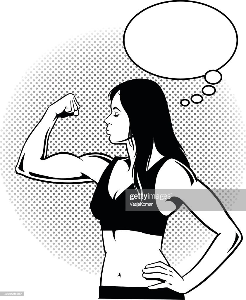 Woman Flexing Muscles with Speech Balloon - Black and White