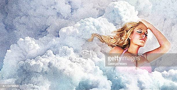 Woman Floating In Cloudscape