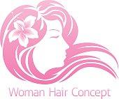 Woman Flower Hair Concept