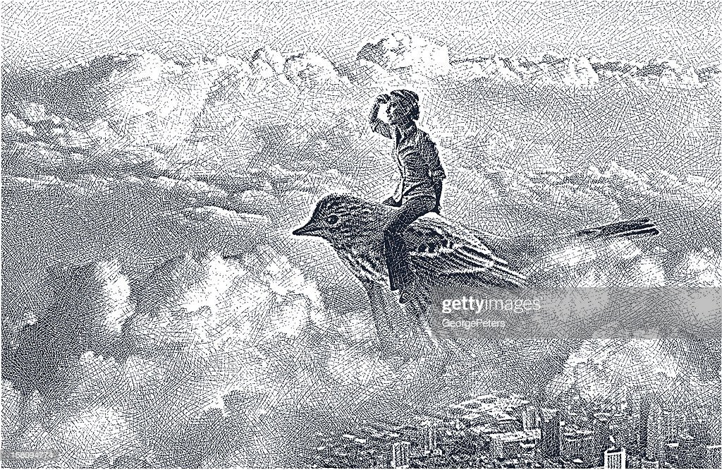 Etching illustration of woman flying on bird and searching.