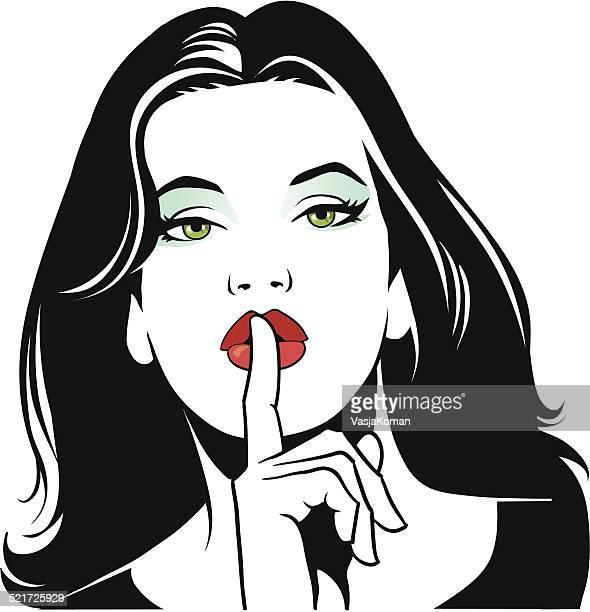ilustrações, clipart, desenhos animados e ícones de mulher balançando um bastão de ser tranquila - silêncio