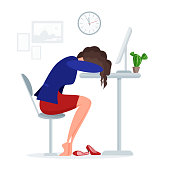 Woman get tired sleeps at work
