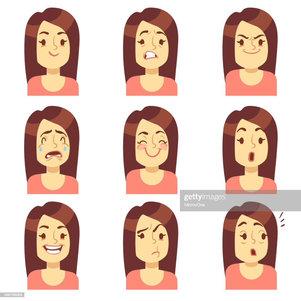 Woman, girl face emotions expression vector avatar icons
