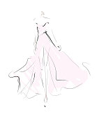 Woman, girl, model in dress. Fashion sketch, vector