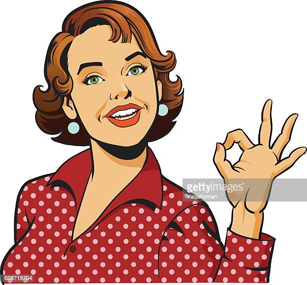 Woman Giving OK Gesture - Retro Girl