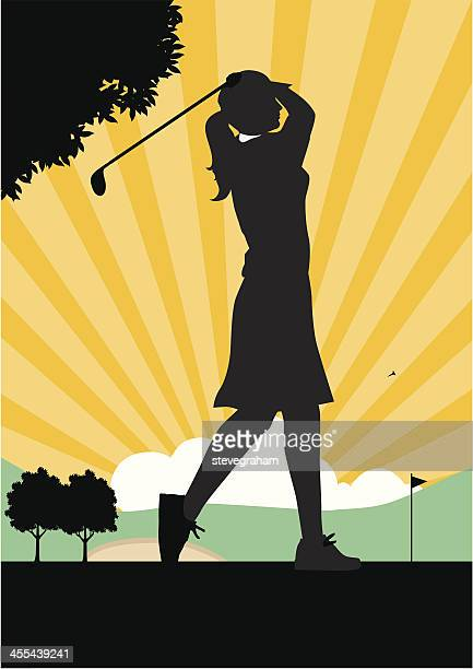 woman golfer teeing off. - sand trap stock illustrations, clip art, cartoons, & icons
