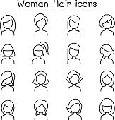 Woman Hair Style icon set in thin line style