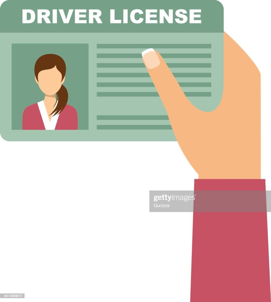 Woman hand holding car driving licens. Vector