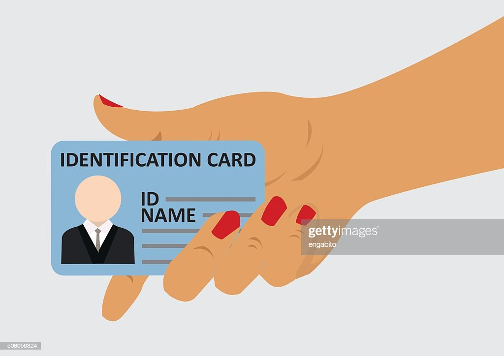 woman hand holding identification card