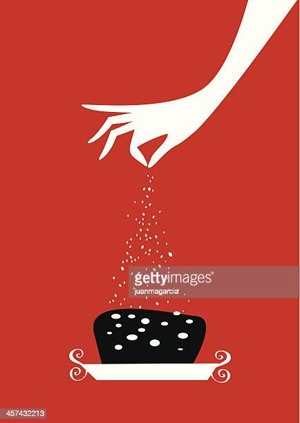 woman hand pouring sugar on a cake. - sugar food stock illustrations, clip art, cartoons, & icons