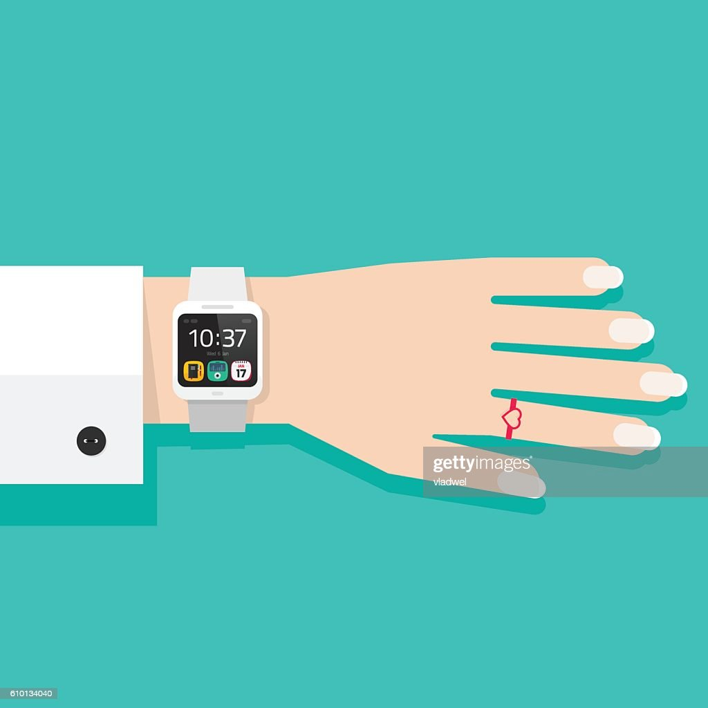 Woman hand with smart watch vector illustration