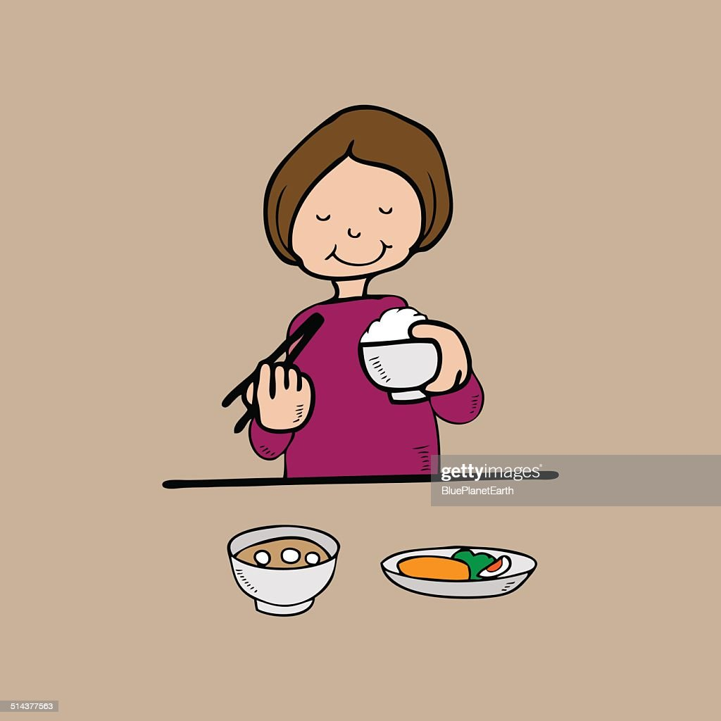 Woman has meal Asian style