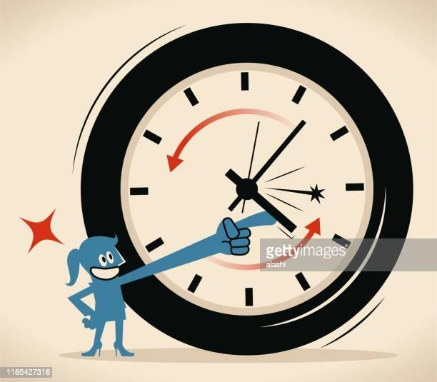 stockillustraties, clipart, cartoons en iconen met vrouw heeft de klok (tijd) verplaatsen linksom, verjonging concept - terugtrekken