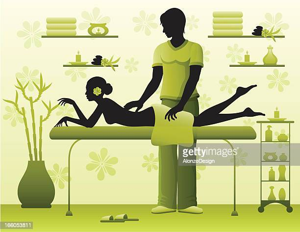 illustrations, cliparts, dessins animés et icônes de femme ayant un massage - masseur