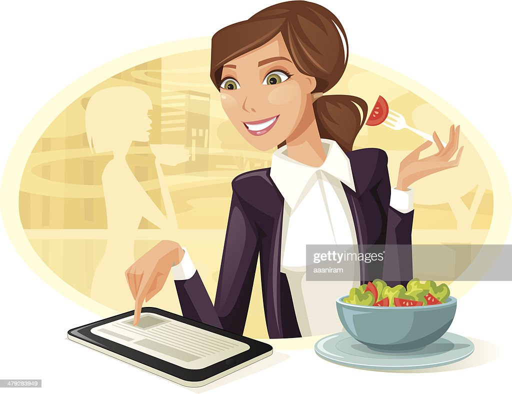 Woman Having Lunch While Using Tablet Computer