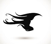 Woman head with beautiful long hair icon vector