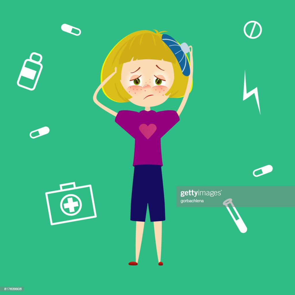 Woman headache. Sick young girl with migraine, tired and feel pain and suffering from stress. Child with fever and illness. Sickness symptoms vector illustration in cartoon style.