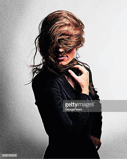 Woman Hiding Face In Her Hair