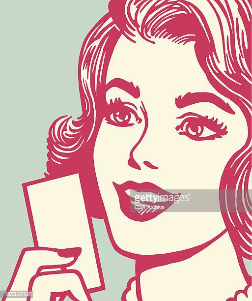 woman holding a card - beautiful woman stock illustrations, clip art, cartoons, & icons