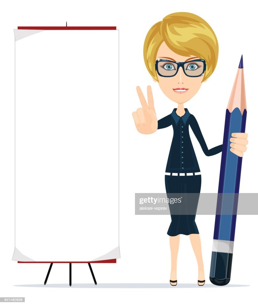 Woman holding a pencil and pointing to a blank poster