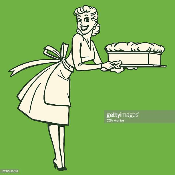 woman holding a souffle - baked stock illustrations, clip art, cartoons, & icons