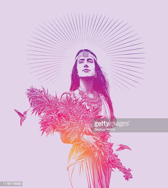 woman holding bouquet of cannabis plants - saturated colour stock illustrations