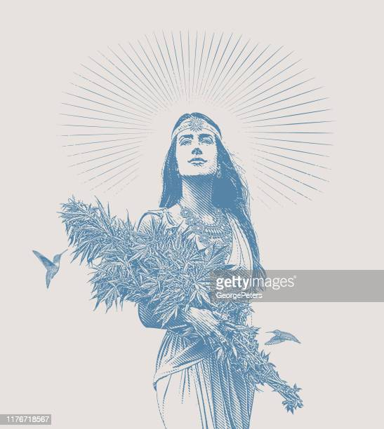woman holding bouquet of cannabis plants - 25 29 years stock illustrations