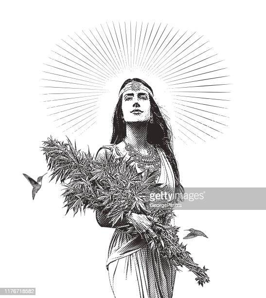 woman holding bouquet of cannabis plants - waist up stock illustrations