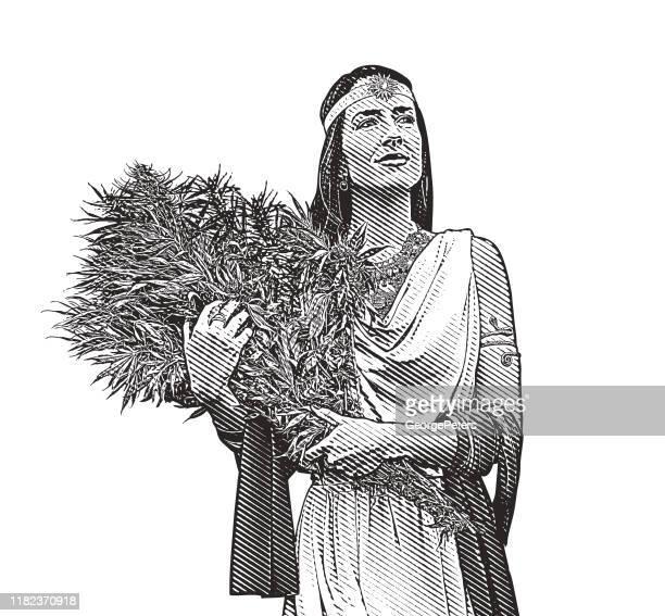 大麻植物の花束を持つ女性 - 女神アフロディーテ点のイラスト素材/クリップアート素材/マンガ素材/アイコン素材