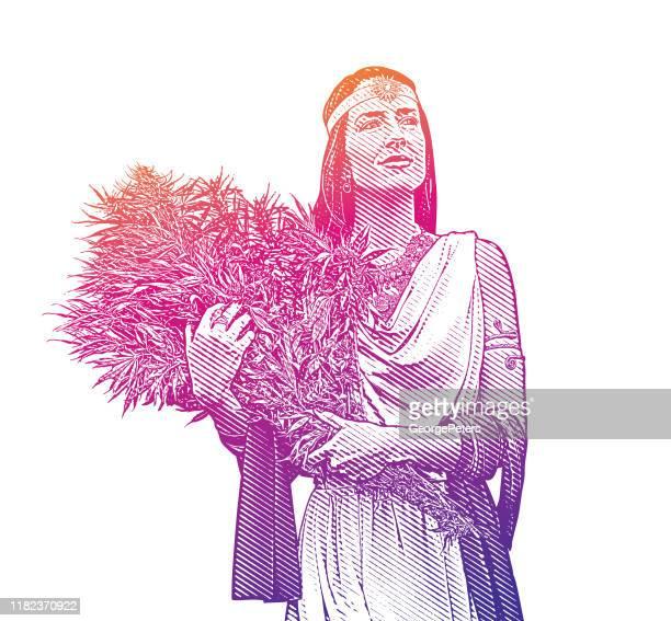 bildbanksillustrationer, clip art samt tecknat material och ikoner med kvinna som innehar bukett av cannabisplantor - grekisk gudinna