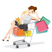 Woman holding card sitting in shopping cart