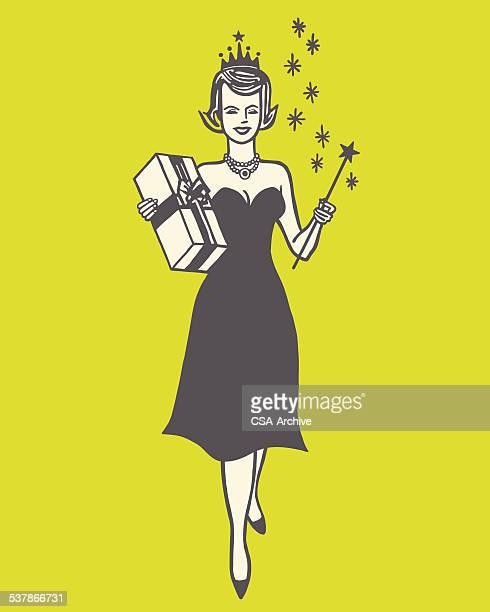 ilustraciones, imágenes clip art, dibujos animados e iconos de stock de woman holding gift y simulación - reina de belleza