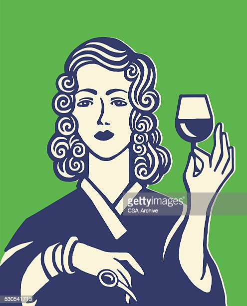 woman holding glass of wine - happy hour stock illustrations, clip art, cartoons, & icons