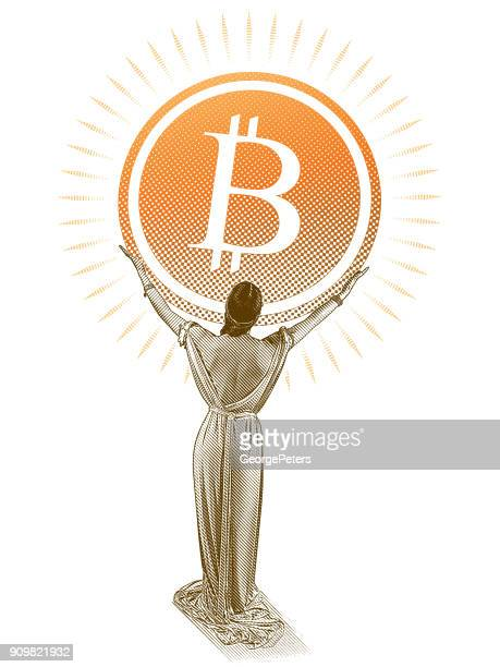 Woman holding large Bitcoin