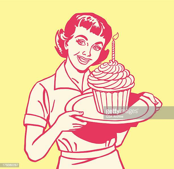 woman holding large cupcake - baked stock illustrations, clip art, cartoons, & icons