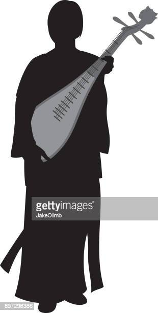 Woman Holding Lute Silhouette