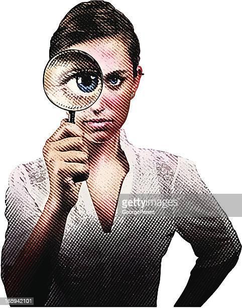ilustraciones, imágenes clip art, dibujos animados e iconos de stock de mujer agarrando lupa - detective