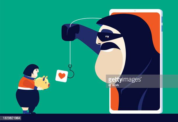 woman holding piggy bank and meeting hacker via smartphone - scammer stock illustrations