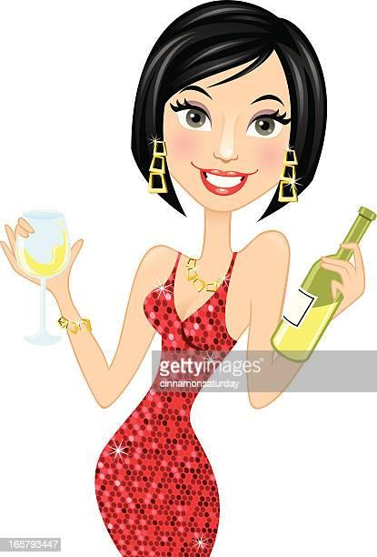 Woman holding white wine