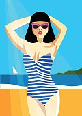 Woman in a striped bathing suit on the beach. Vector