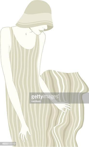 woman in a striped dress