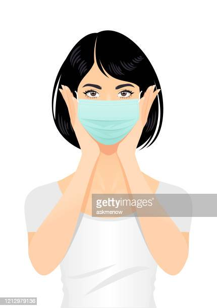 woman in a surgical mask - woman wearing protective face mask stock illustrations