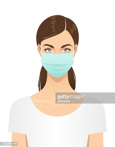 woman in a surgical mask - hair back stock illustrations