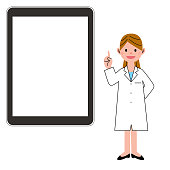 Woman in a white coat and digital tablet