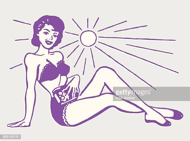 woman in bikini sitting in the sun - swimwear stock illustrations, clip art, cartoons, & icons